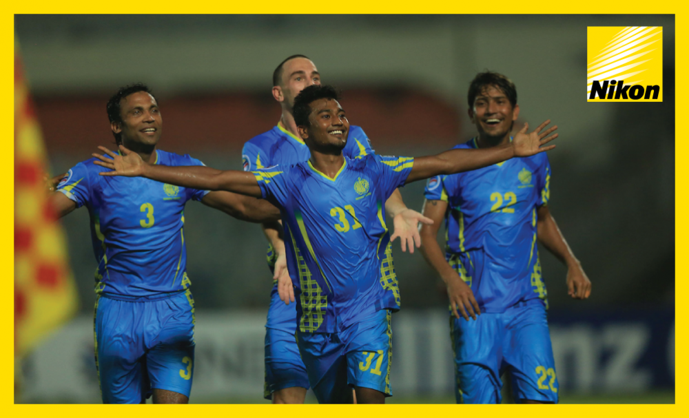 Rubel Miya enjoys the acclaim after scoring from just inside the JSW Bengaluru half to make it 2-0 in stoppage time and wrap up Abahani Limited Dhaka's first-ever AFC Cup win in Group E on Wednesday.
