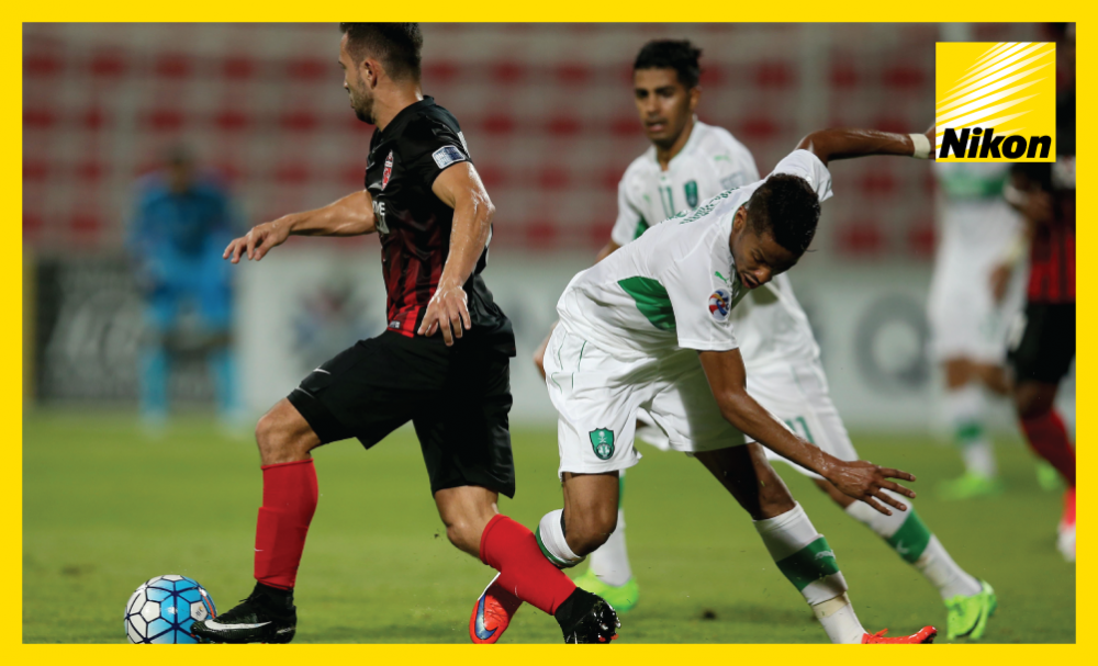 Al Ahli (UAE) playmaker Everton Ribeiro zips past his marker but, unfortunately for the Brazilian and his team-mates, it would be Saudi Arabia's Al Ahli who would come out on top 3-1 on Monday to secure a place in the last eight after a 4-2 aggregate win.