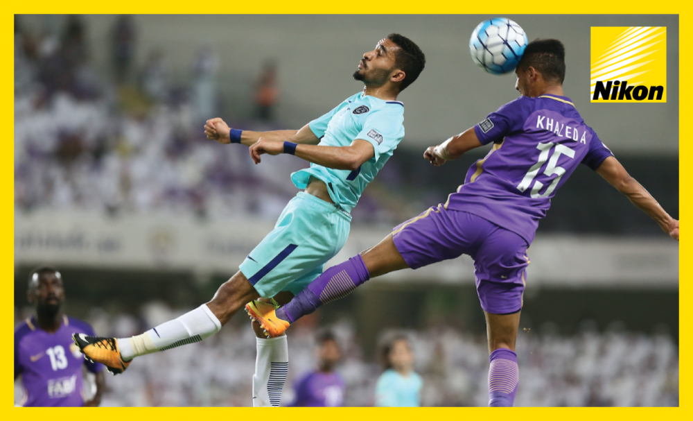 Khaled Abdulrahman leaps high to win an aerial duel as 2016 AFC Champions League runners-up Al Ain play out a scoreless draw with Al Hilal in the first leg of their quarter-final on Monday.