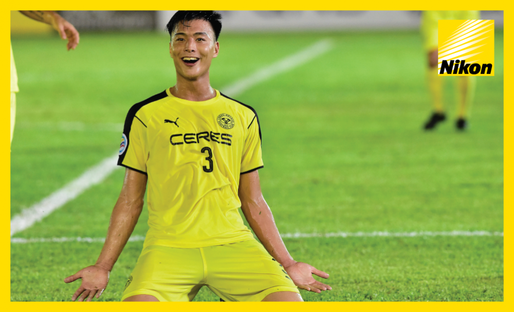 Kota Kawasae celebrates his opener in Ceres Negros' 2-1 win over Malaysian heavyweights Johor Darul Ta'zim as the Filipino side eliminate the 2015 AFC Cup champions on Wednesday.