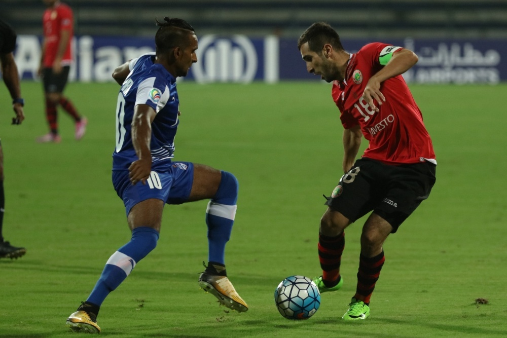 FC Istiklol captain Fatkhullo Fatkhuloev draws JSW Bengaluru defender Harmanjot Khabra into a challenge during a thrilling 2-2 draw in the second leg of the AFC Cup Inter-Zone final at Sree Kanteerava Stadium on Wednesday as the Tajikistan champions eventually progress 3-2 on aggregate.