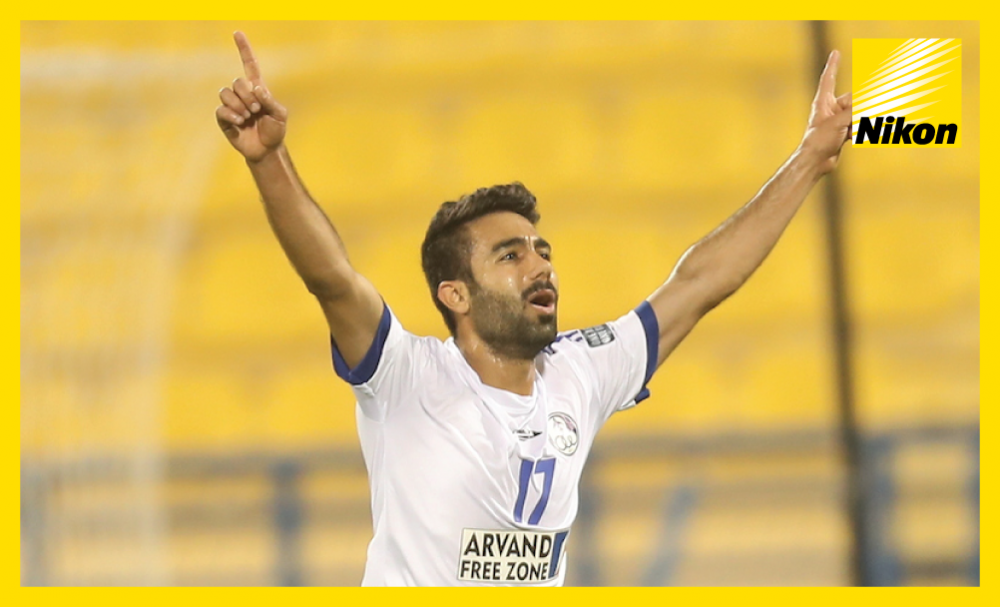 Esteghlal Khouzestan substitute Salman Bahrani celebrates his spectacular injury-time overhead kick that secured a 1-1 draw with Al Fateh in Group B to leave the Iranian side's AFC Champions League last 16 qualification hopes in their own hands.