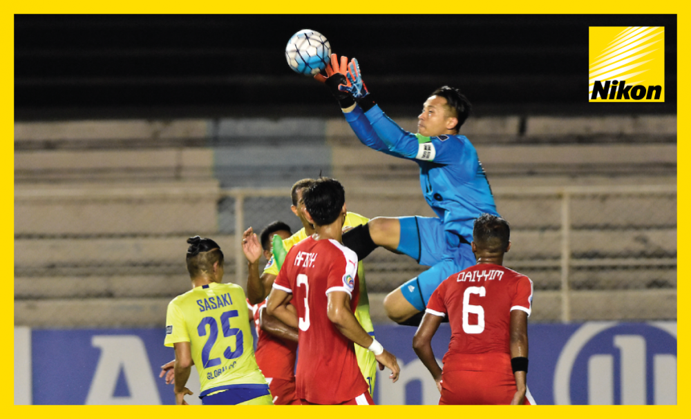 Home United goalkeeper Hassan Sunny confidently claims a cross into his box before the Singaporean team score late to salvage a credible 2-2 draw in the AFC Cup ASEAN Zonal Semi-final first leg with Global FC of the Philippines on Wednesday.