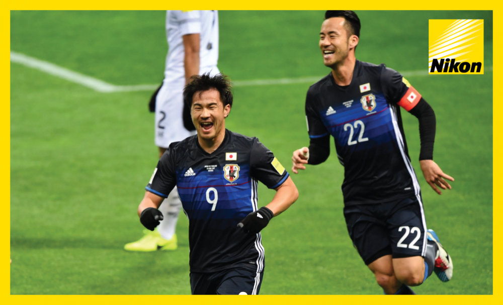 Shinji Okazaki celebrates his 50th goal for Japan as the Samurai Blue move top of Group B following their 4-0 win over Thailand on the Road to Russia.