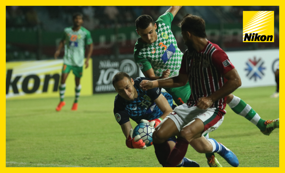 Maziya Sports & Recreation goalkeeper Matiash Pavel clutches onto the ball as the Maldivian team claim an excellent 1-0 win at India's Mohun Bagan to move second in Group E of the AFC Cup on Wednesday.