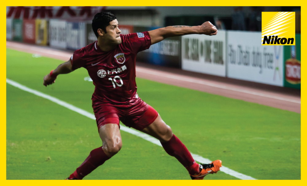 Hulk celebrates his goal as Shanghai SIPG thrash domestic rivals Guangzhou Evergrande 4-0 in the first leg of the AFC Champions League quarter-finals on Tuesday.