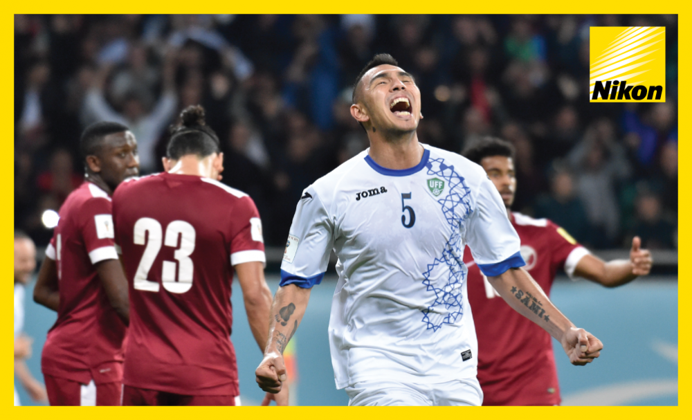 Anzur Ismailov celebrates Uzbekistan's vital 1-0 win over Qatar in Group A on Tuesday, while for the 2022 FIFA World Cup hosts the Road to Russia is surely over.