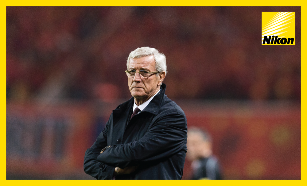China coach Marcello Lippi observes his side on their way to a famous 1-0 win over Korea Republic in Group A on the Road to Russia.
