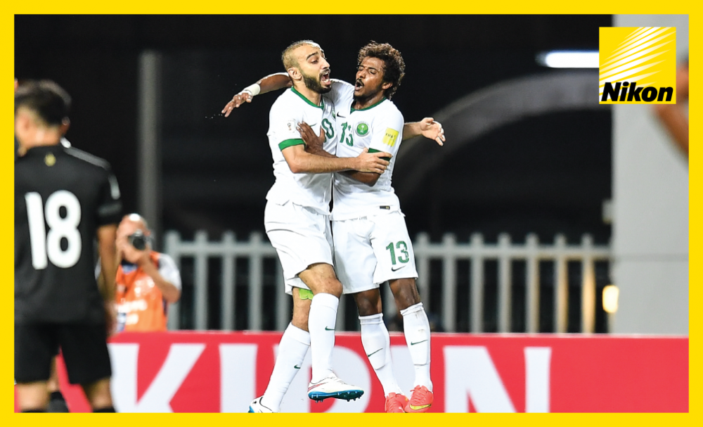 Mohammad Al Sahlawi and Yasser Al Shahrani celebrate the former's opener as the Saudi Arabia defeat Thailand 3-0 on Matchday Six of the FIFA World Cup Russia 2018 qualifying campaign.