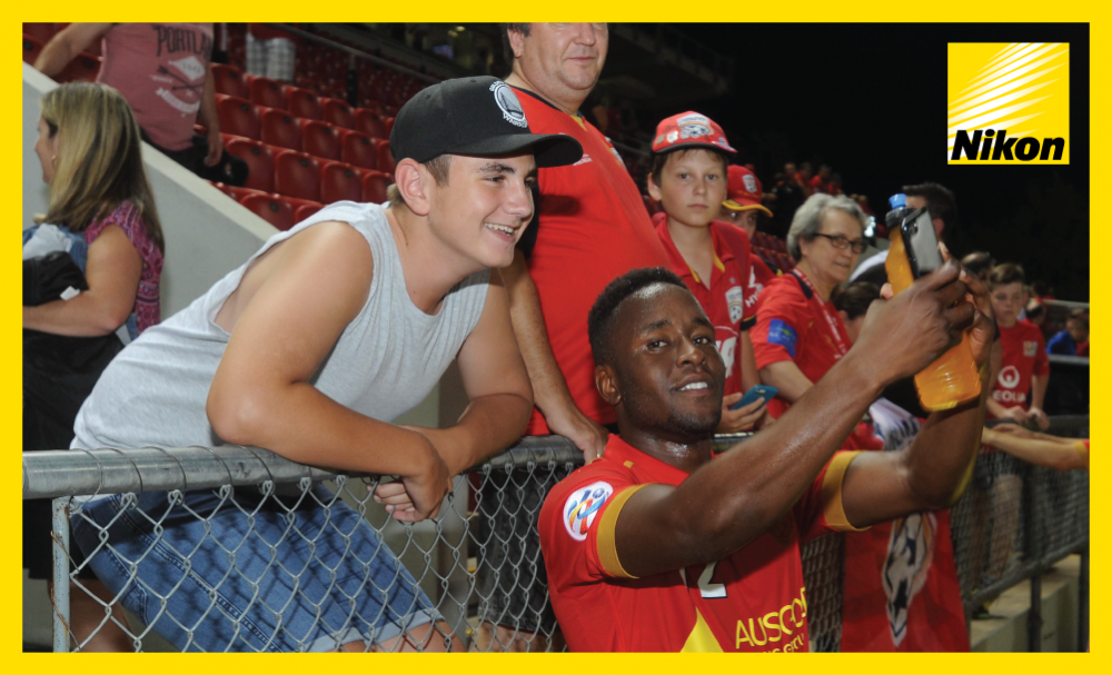 Selfie Moment: Adelaide United goalscorer Papa Diawara enjoys moment with fan after thrilling 3-3 draw with Jeju United in Group H of the AFC Champions League on Matchday Three.