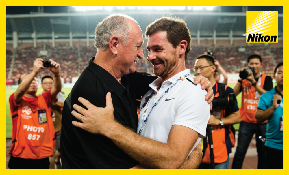 Guangzhou Evergrande's Luiz Felipe Scolari embraces Shanghai SIPG coach Andre Villas-Boas ahead of their 2017 AFC Champions League quarter-final second leg on Tuesday.