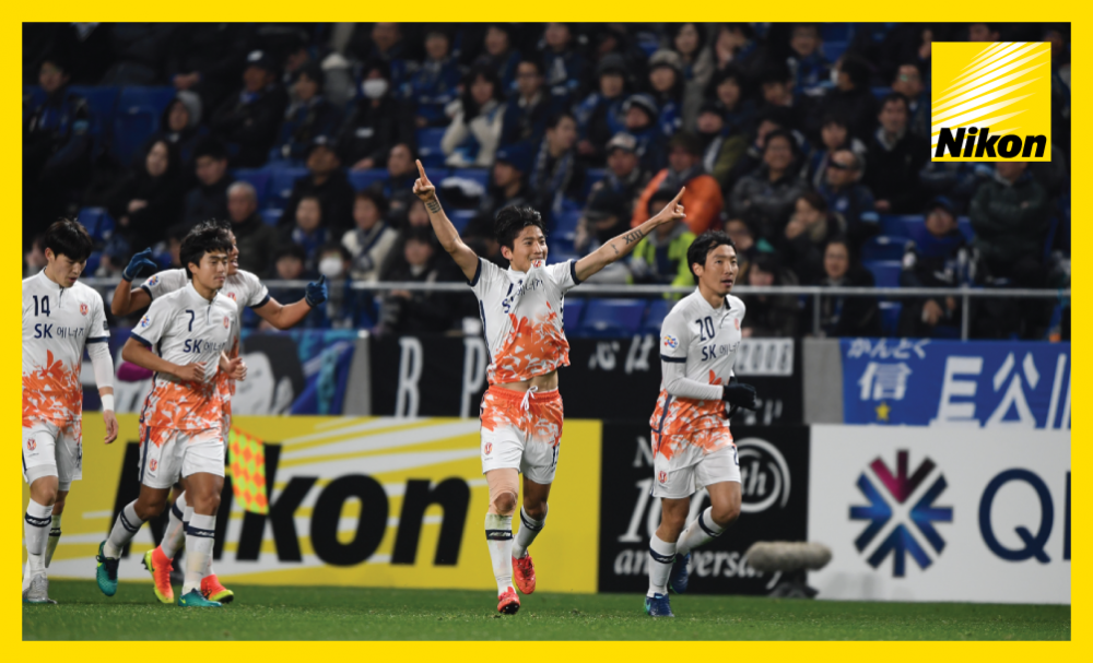 Jeju United celebrate their shock 4-1 win away at Gamba Osaka in the AFC Champions League on Matchday Two.