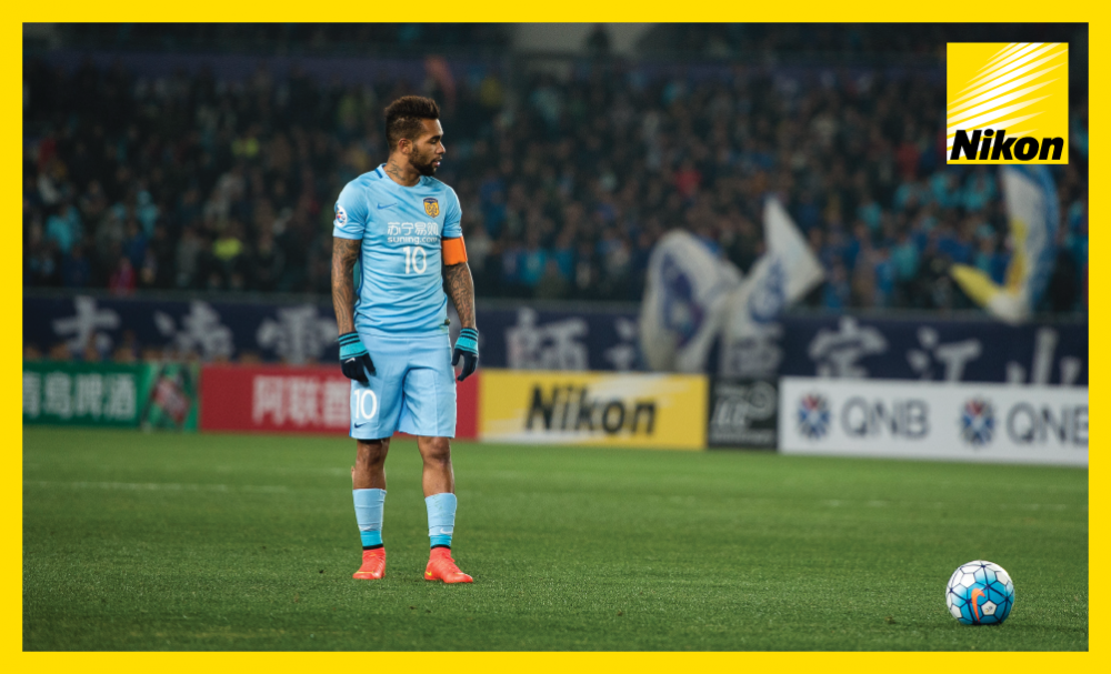 Jiangsu FC's Alex Teixeira pauses before taking a free-kick against Adelaide United in the AFC Champions League on Matchday Two.