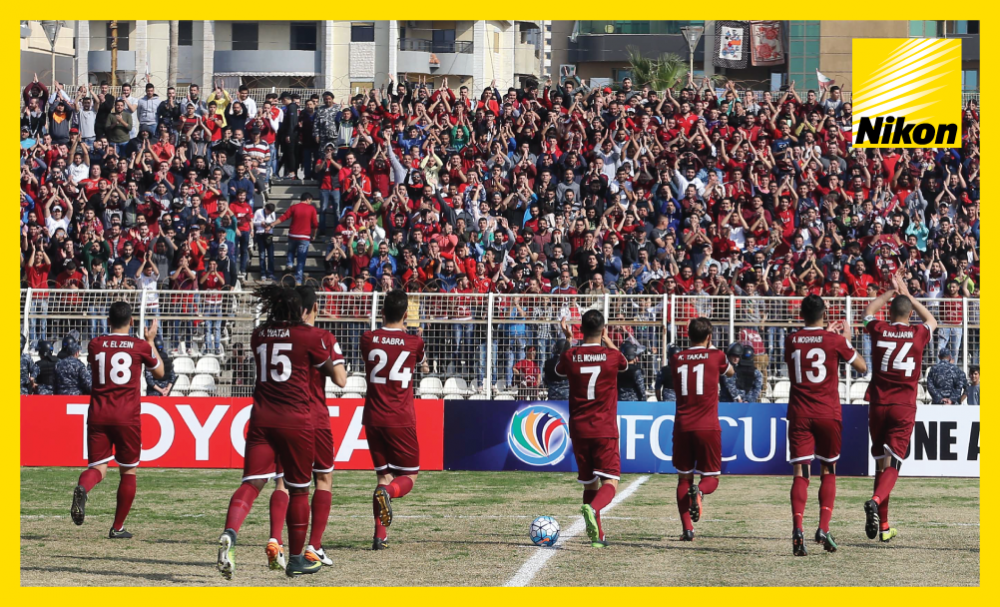 Nejmeh fans and players show appreciation of one another on Tuesday ahead of the Lebanese side's 2-1 AFC Cup Group C victory over Oman's Saham Club.