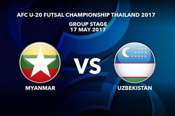 M10 MYANMAR vs UZBEKISTAN - AFC U-20 Futsal Championship Thailand 2017