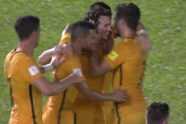 Brilliant work from Matt Leckie gives Australia a crucial away goal