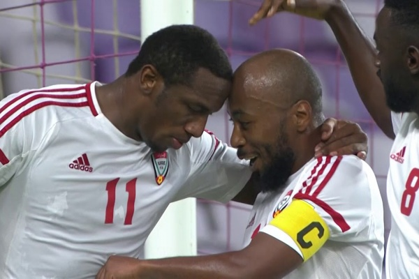 An absolutely stunning strike from Ahmed Khalil puts UAE 2-1 up against Saudi Arabia!