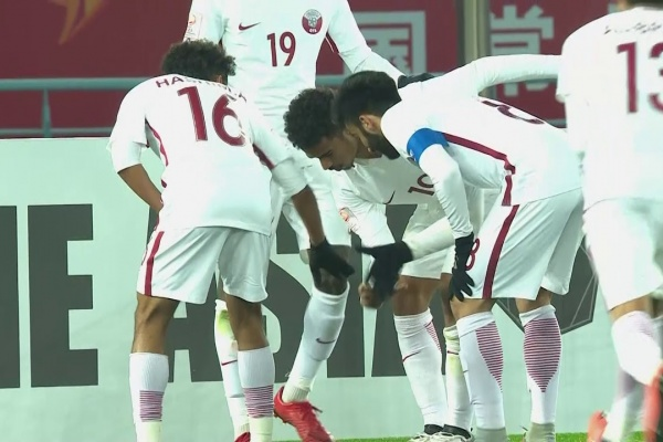 Akram Afif scores the opening goal for Qatar!